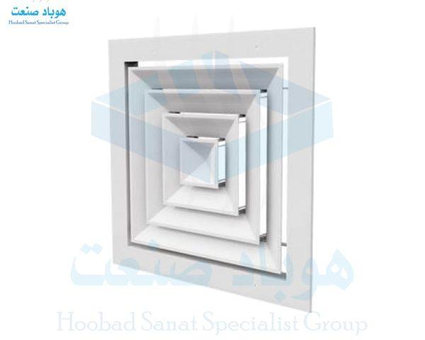 دریچه سقفی چهارگوش کلاف دورباز آلومینیومی